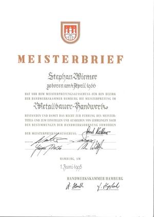 Meisterbrief Metallbau Stephan Wiemer